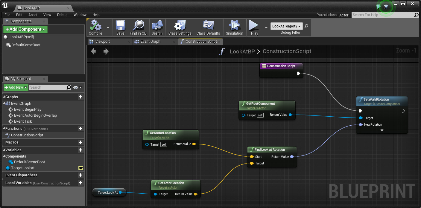 A simple look at blueprint for unreal engine a clockwork berry look at blueprint construction script malvernweather Choice Image