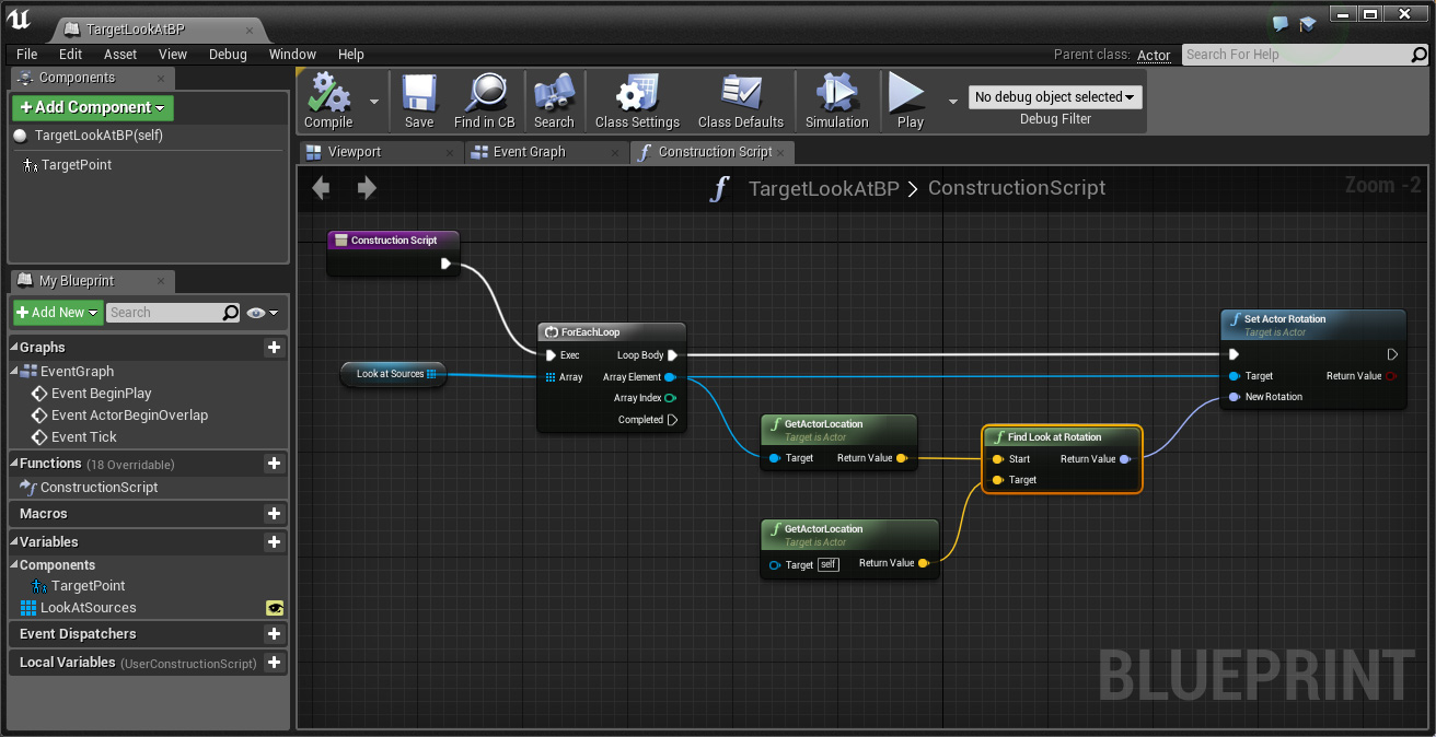 A simple look at blueprint for unreal engine a clockwork berry target lookat construction script malvernweather Choice Image